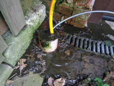 Igitt! Jahrelang hat niemand die Regenrinnen sauber gemacht. Der Ablauf ist über mehrere Meter verstopft. Die aufsteigende Feuchtigkeit greift das Mauerwerk an.